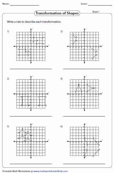 Geometry Transformations Worksheet Pdf New Transformation Worksheets Reflection Translation Rotation