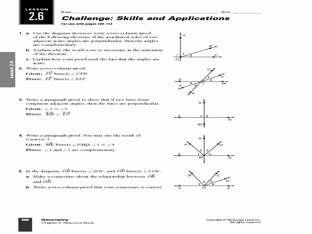 Geometry Worksheet Beginning Proofs Awesome Geometry Worksheet 2 6 Geometry Proofs Answers