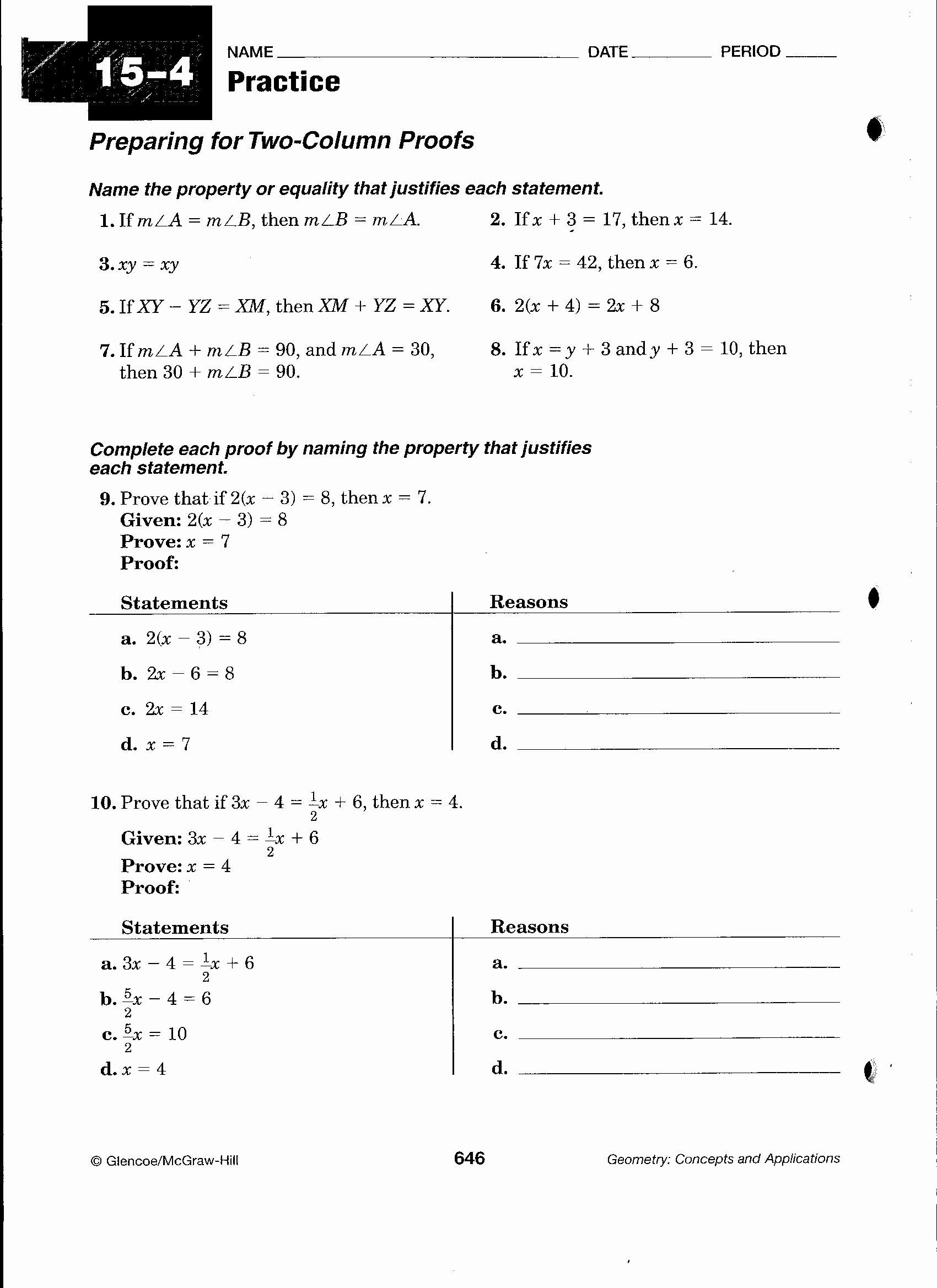 Geometry Worksheet Beginning Proofs Luxury Beginning Geometry Proofs Worksheets