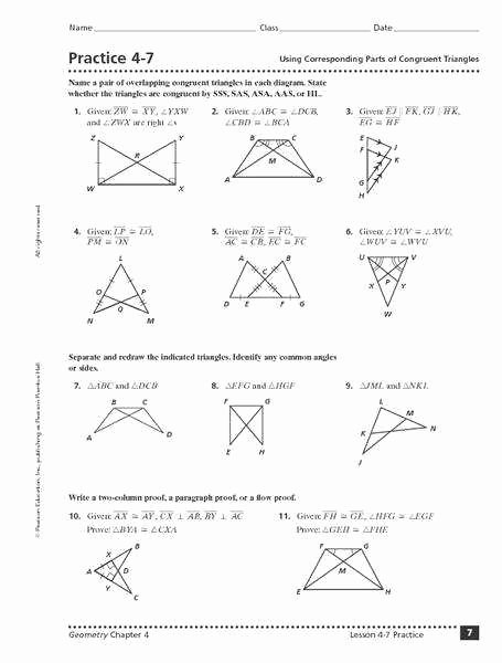 Geometry Worksheet Congruent Triangles Answers Elegant Triangle Congruence Proofs Worksheet