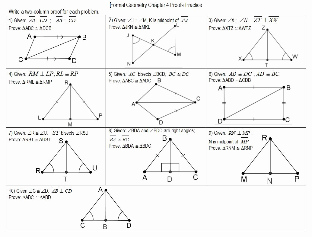 Geometry Worksheet Congruent Triangles New Proving Triangle Congruence Worksheets
