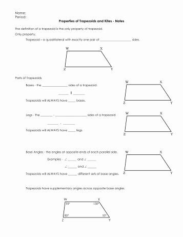 Geometry Worksheet Kites and Trapezoids Best Of Trapezoid and Kite Worksheet