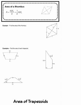 Geometry Worksheet Kites and Trapezoids Elegant area Of Rhombuses Trapezoids and Kites Flipbook by Mrs E