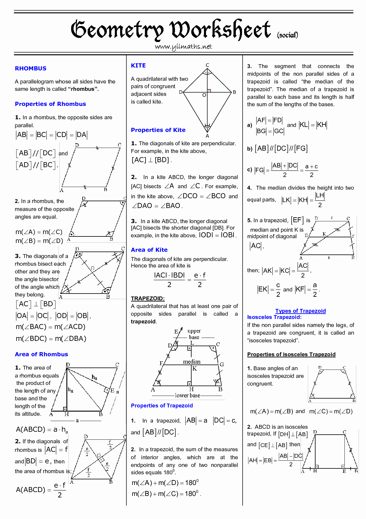 Geometry Worksheet Kites and Trapezoids Elegant Trapezoids and Kites Worksheet