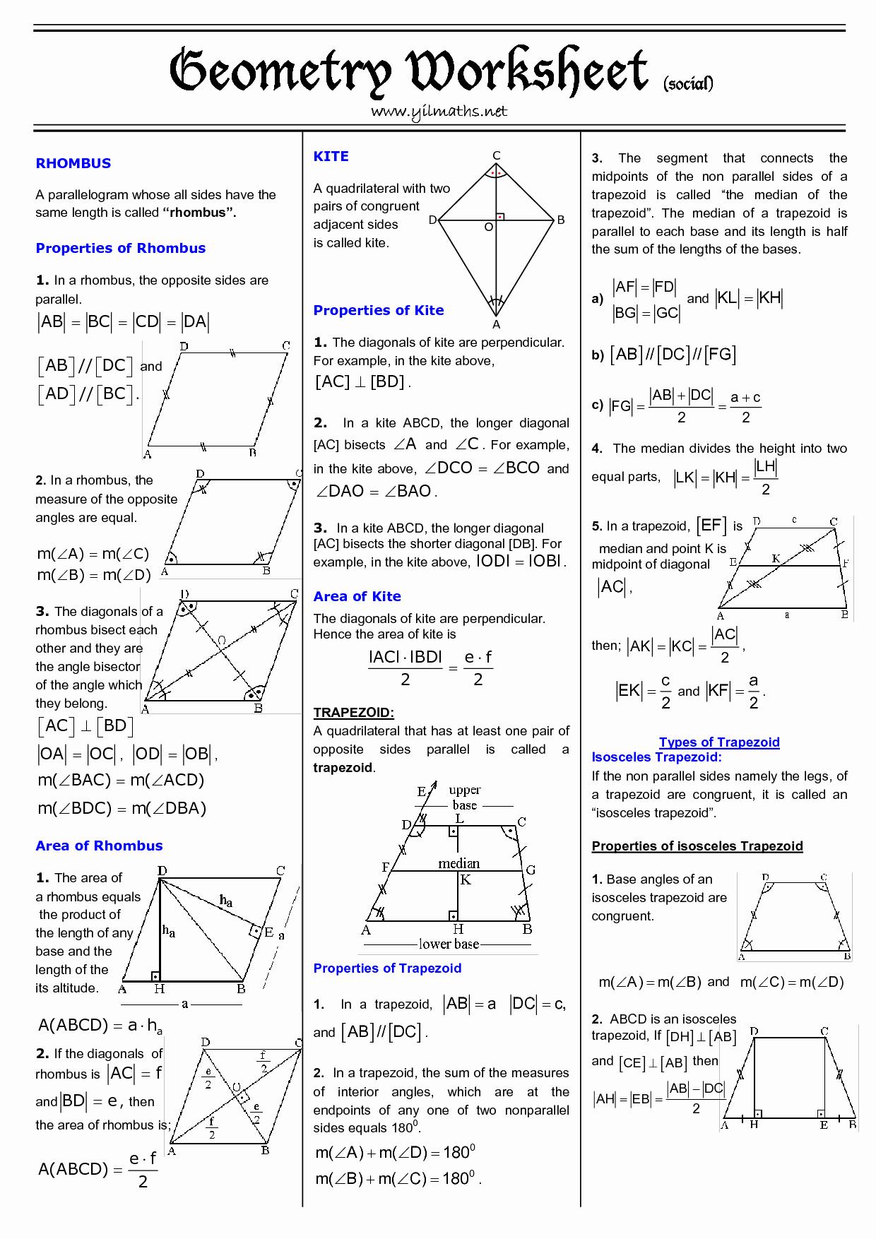 Geometry Worksheet Kites and Trapezoids Elegant Trapezoids and Kites Worksheet