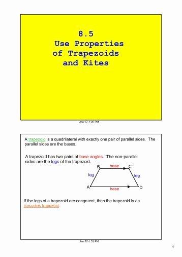 Geometry Worksheet Kites and Trapezoids Fresh Trapezoid and Kite Worksheet