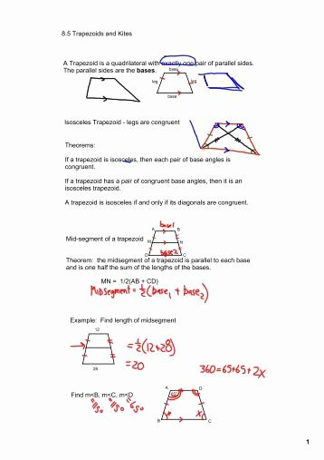 Geometry Worksheet Kites and Trapezoids Inspirational Geometry Notes G 9 8 4 8 5 Rhombus Rectangle Square