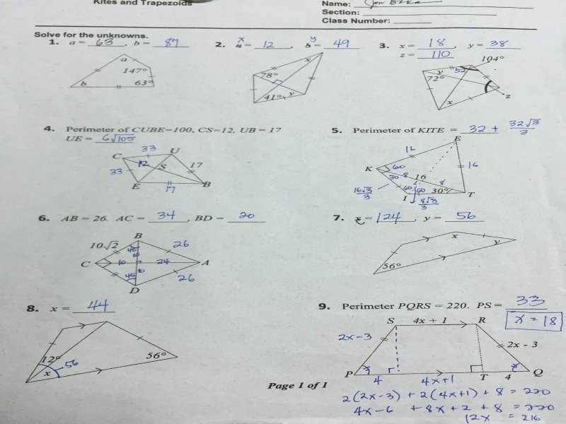 Geometry Worksheet Kites and Trapezoids Inspirational Geometry Worksheet Kites and Trapezoids Answers Free