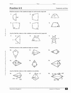 Geometry Worksheet Kites and Trapezoids Inspirational Practice 6 5 Trapezoids and Kites 10th 12th Grade