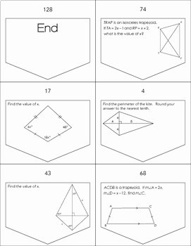 Geometry Worksheet Kites and Trapezoids Luxury Trapezoids and Kites Ladder Activity by Mrs E Teaches Math