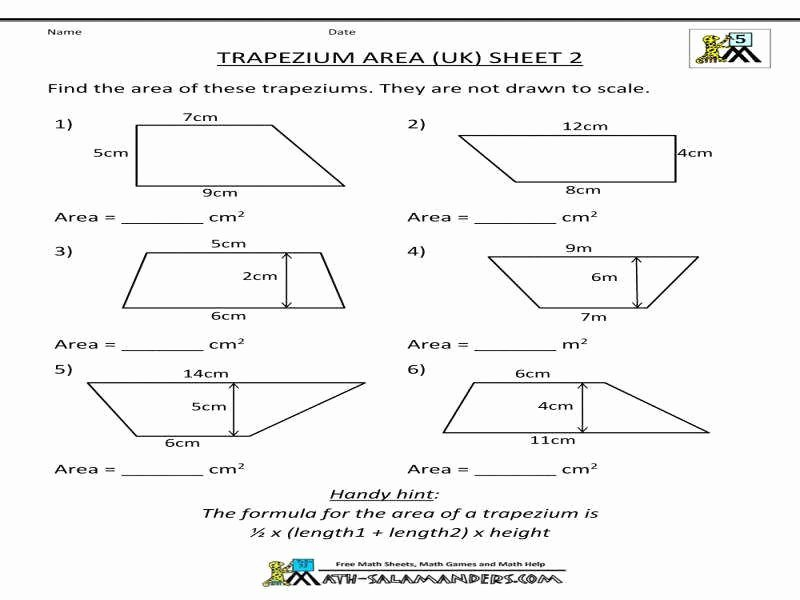 Geometry Worksheet Kites and Trapezoids New area Trapezoid Worksheet