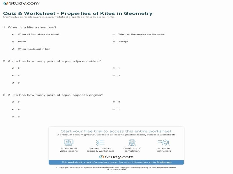 Geometry Worksheet Kites and Trapezoids Unique Geometry Worksheet Kites and Trapezoids Answers Free