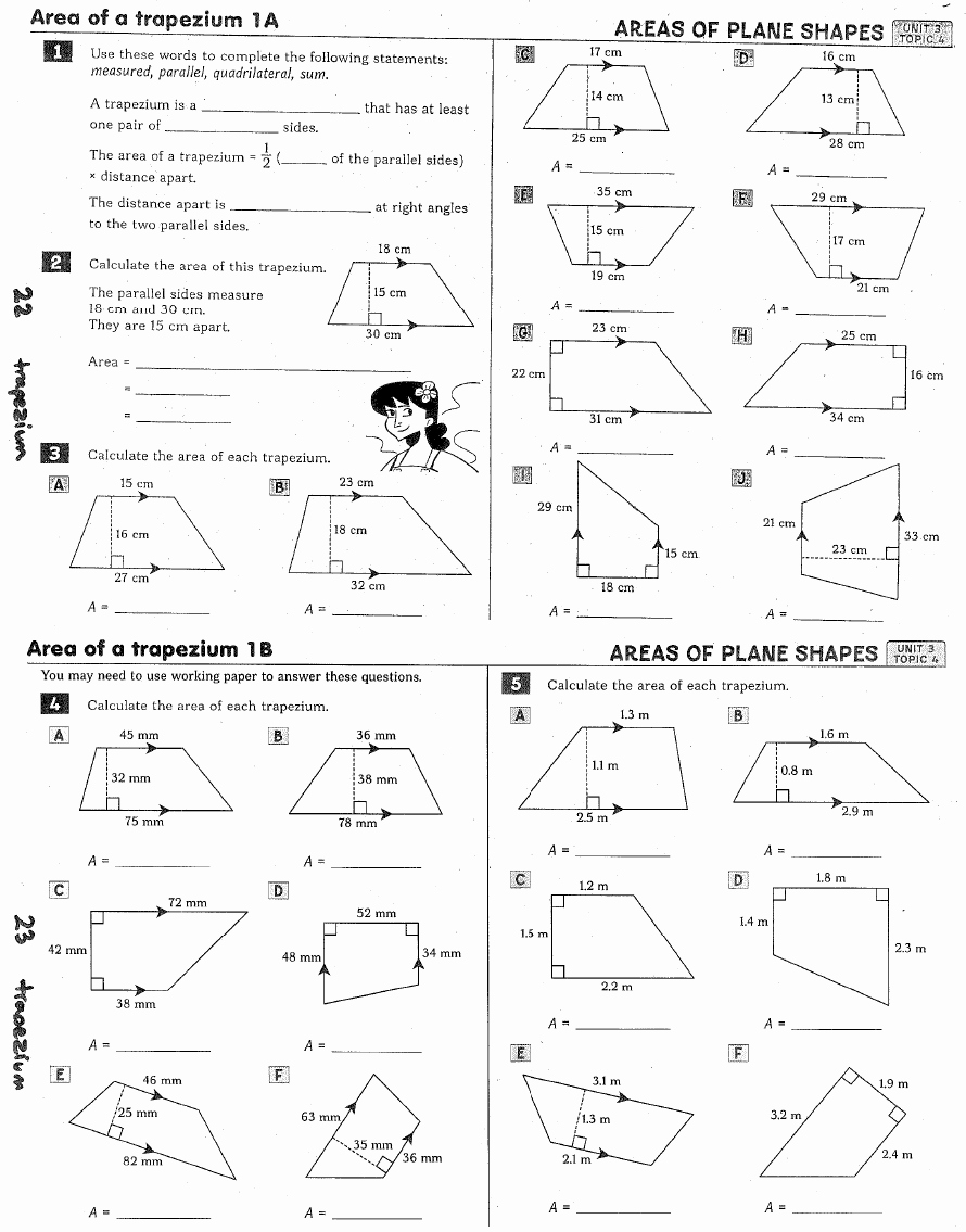 Geometry Worksheet Kites and Trapezoids Unique Trapezoids and Kites Worksheet