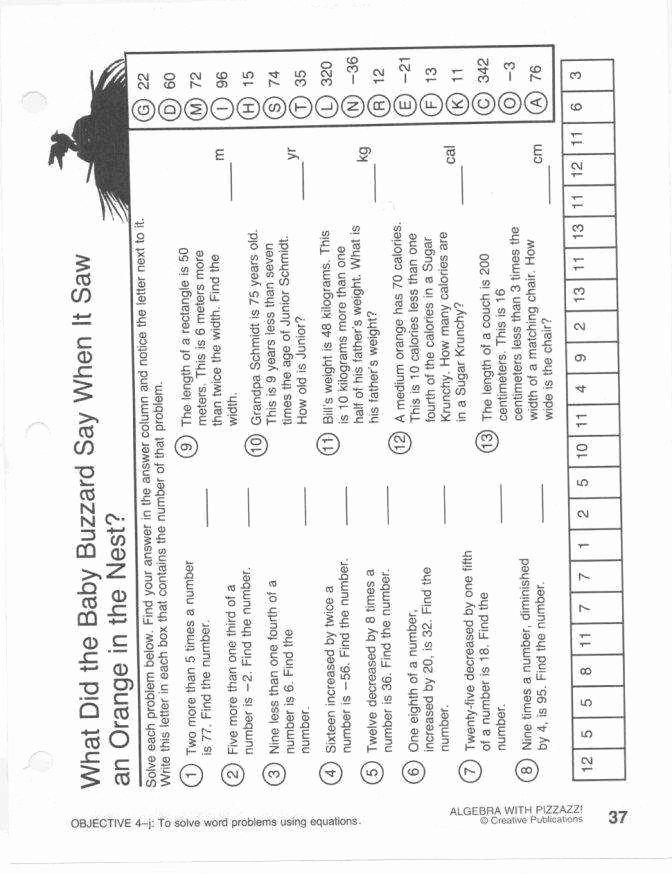 Get the Message Math Worksheet Elegant Algebra with Pizzazz Worksheet Answers