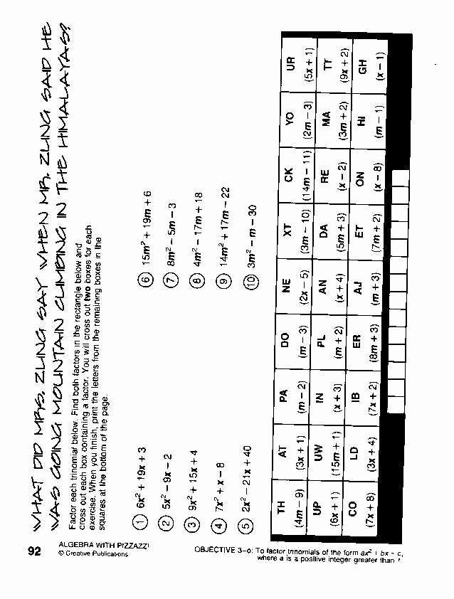 Get the Message Math Worksheet New Algebra with Pizzazz Worksheet Answers