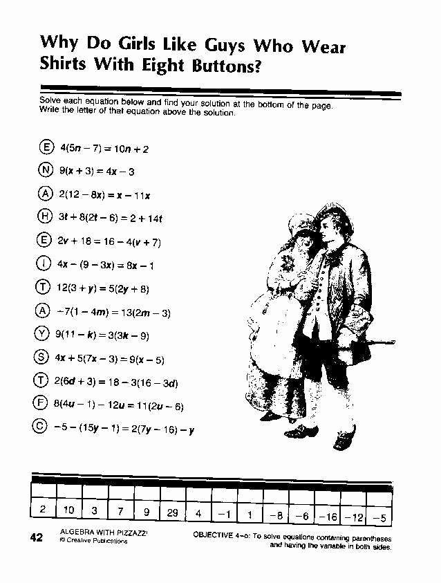 Get the Message Worksheet Answers Beautiful Algebra with Pizzazz Worksheet Answers