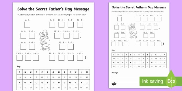 Get the Message Worksheet Answers Beautiful Father S Day Multiplication and Division Secret Message