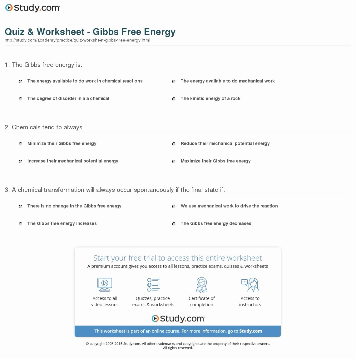 Gibbs Free Energy Worksheet Awesome Quiz & Worksheet Gibbs Free Energy