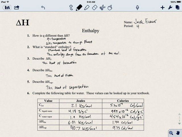 Gibbs Free Energy Worksheet Beautiful Chemistry Jack Delta H Enthalpy Phase Changes Worksheet