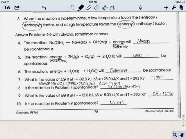 Gibbs Free Energy Worksheet Best Of Chemistry Blog Entropy Gibbs Free Energy Worksheet 4 10