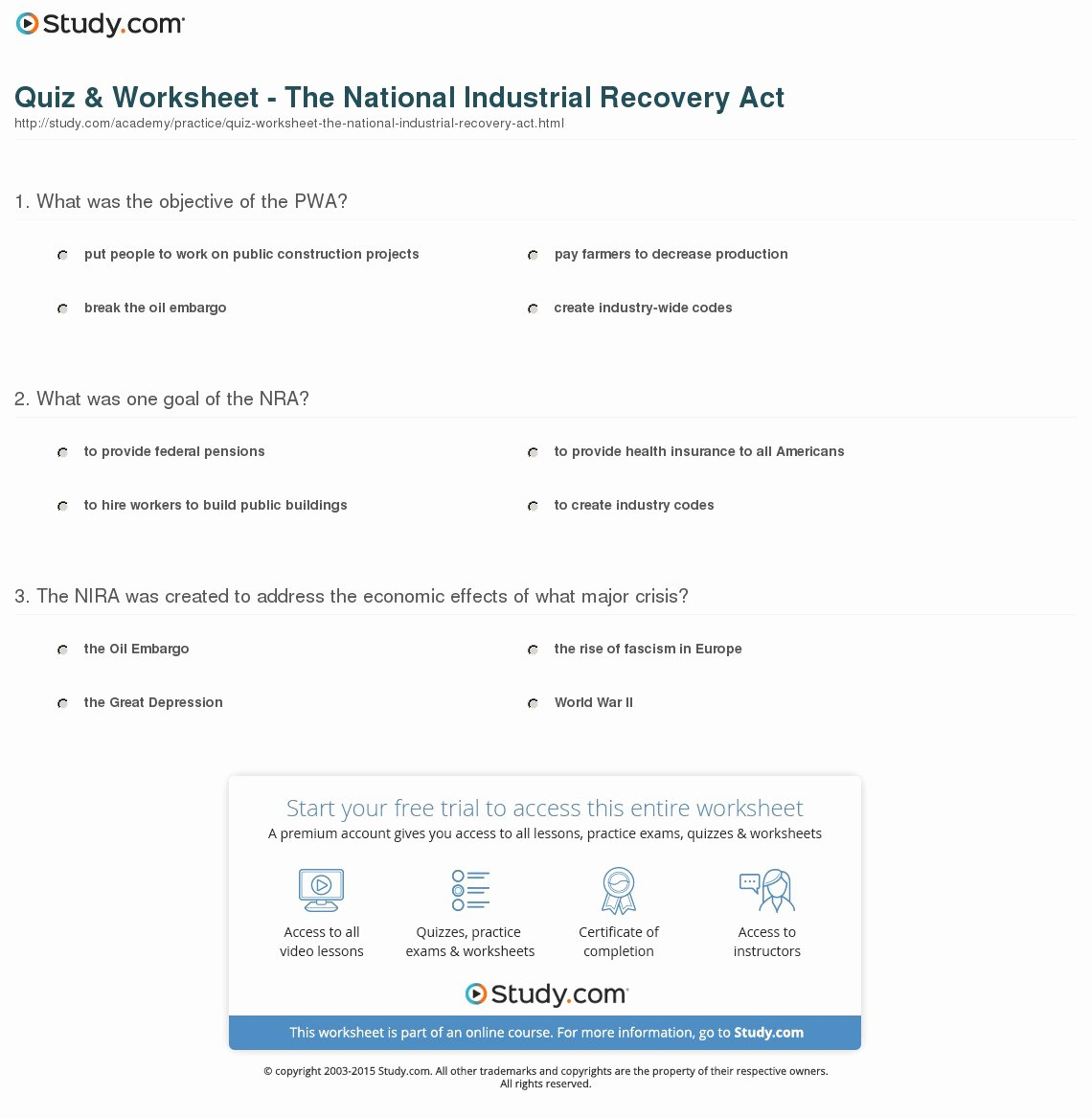Global Wind Patterns Worksheet Unique Quiz & Worksheet the National Industrial Recovery Act