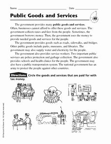 Goods and Services Worksheet Awesome Public Goods and Services 2nd 4th Grade Worksheet