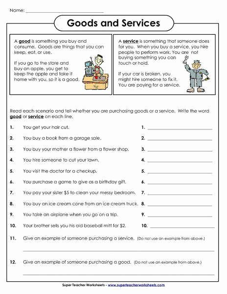 Goods and Services Worksheet Best Of Goods and Services Worksheet