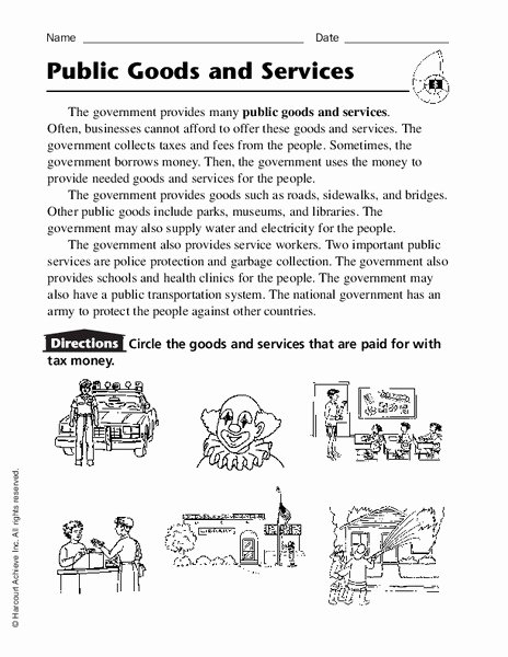 Goods and Services Worksheet Best Of Public Goods and Services Worksheet for 2nd 4th Grade