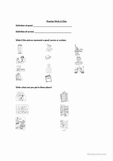 Goods and Services Worksheet Inspirational Goods and Services Worksheet