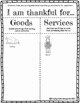 Goods and Services Worksheet Inspirational Thanksgiving Goods and Services Worksheet by Miss Ilyssa