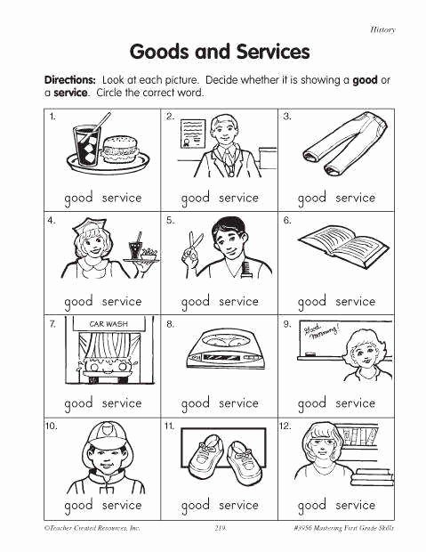 Goods and Services Worksheet Lovely Goods and Services Worksheet