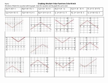 Graphing Absolute Value Equations Worksheet Lovely Graphing Absolute Value Functions Color Match by Mrs Owen