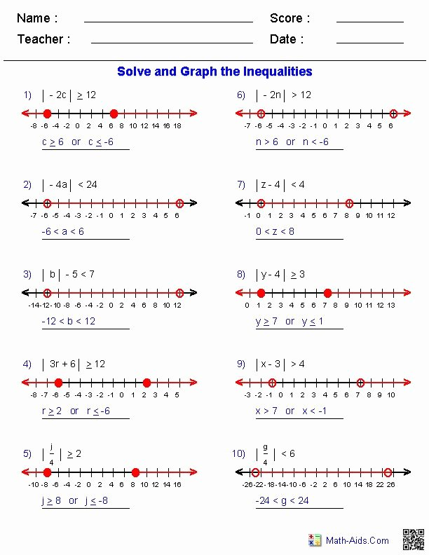 Graphing Absolute Value Inequalities Worksheet Elegant Absolute Value Inequalities Worksheets