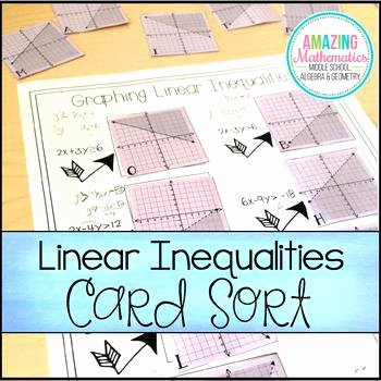 Graphing Absolute Value Inequalities Worksheet New Graphing Linear Inequalities Card Match Activity by