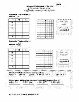 Graphing Exponential Functions Worksheet Answers Awesome Graphing Exponential Functions Guided Notes by Math with