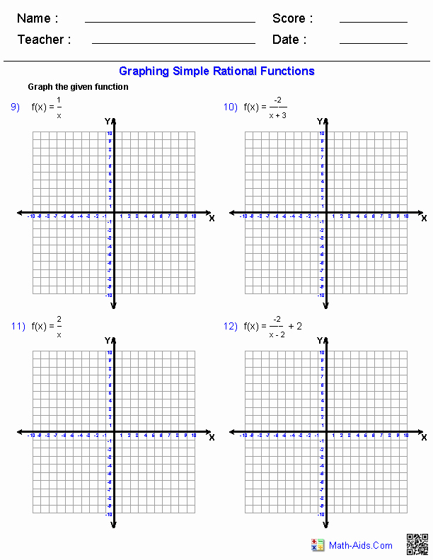 Graphing Exponential Functions Worksheet Answers Awesome Graphing Simple Rational Functions Worksheets