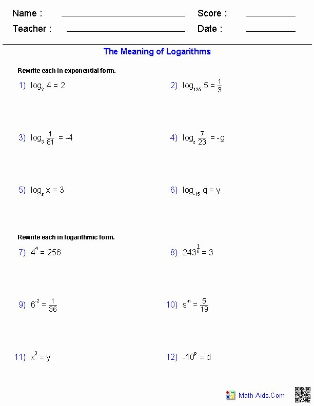 Graphing Exponential Functions Worksheet Answers Fresh Logarithm Worksheet