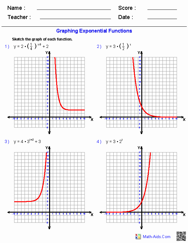 Graphing Exponential Functions Worksheet Awesome Algebra 2 Worksheets