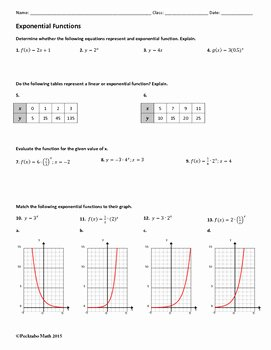 Graphing Exponential Functions Worksheet Awesome Exponential Functions Algebra Worksheet by Pecktabo Math