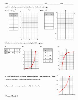 Graphing Exponential Functions Worksheet Elegant Exponential Functions Algebra Worksheet by Pecktabo Math