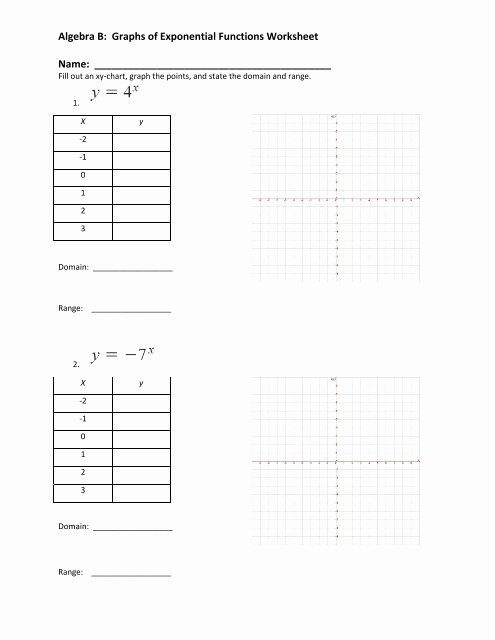 Graphing Exponential Functions Worksheet Lovely Algebra B Graphs Of Exponential Functions Worksheet