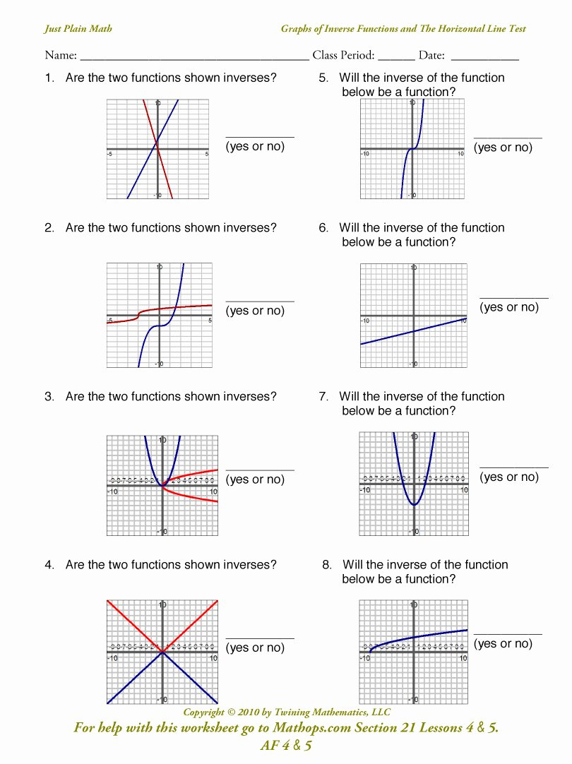 Graphing Inverse Functions Worksheet Beautiful Af 1 Posite Functions Mathops