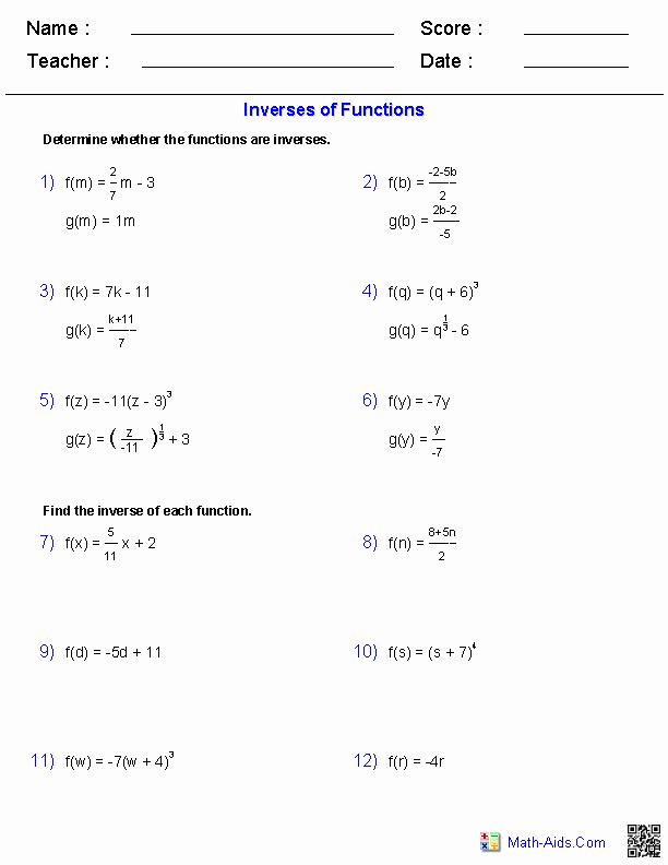 Graphing Inverse Functions Worksheet Beautiful Algebra 2 Worksheets
