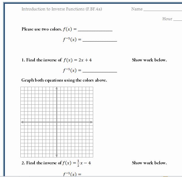 Graphing Inverse Functions Worksheet Luxury Free Worksheet to Introduce Inverse Functions Mon Core
