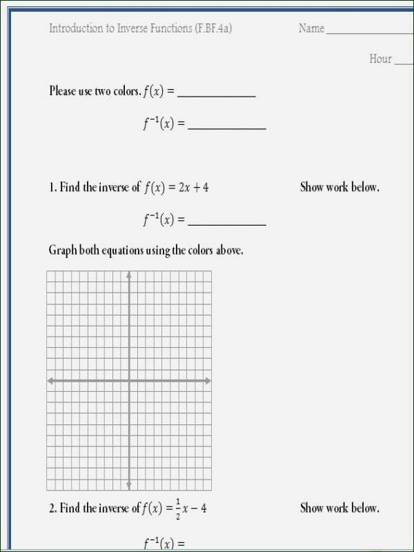 Graphing Inverse Functions Worksheet Unique Translations Rotations Reflections Dilations Kuta