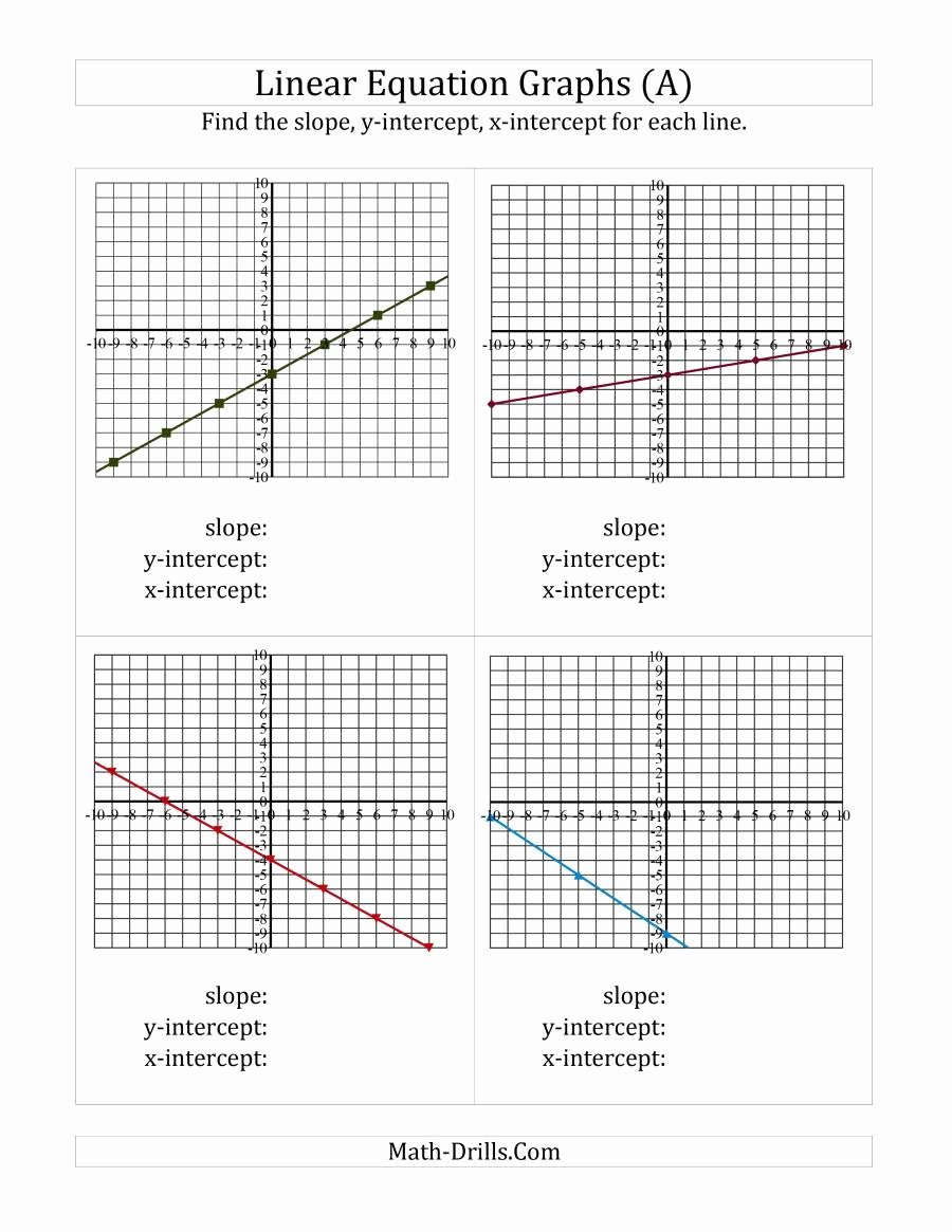 Graphing Linear Equations Practice Worksheet Awesome Finding Slope and Intercepts From A Linear Equation Graph A