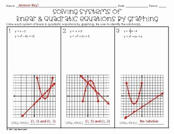 Graphing Linear Equations Practice Worksheet Beautiful solving Systems Of Linear & Quadratic Equations by