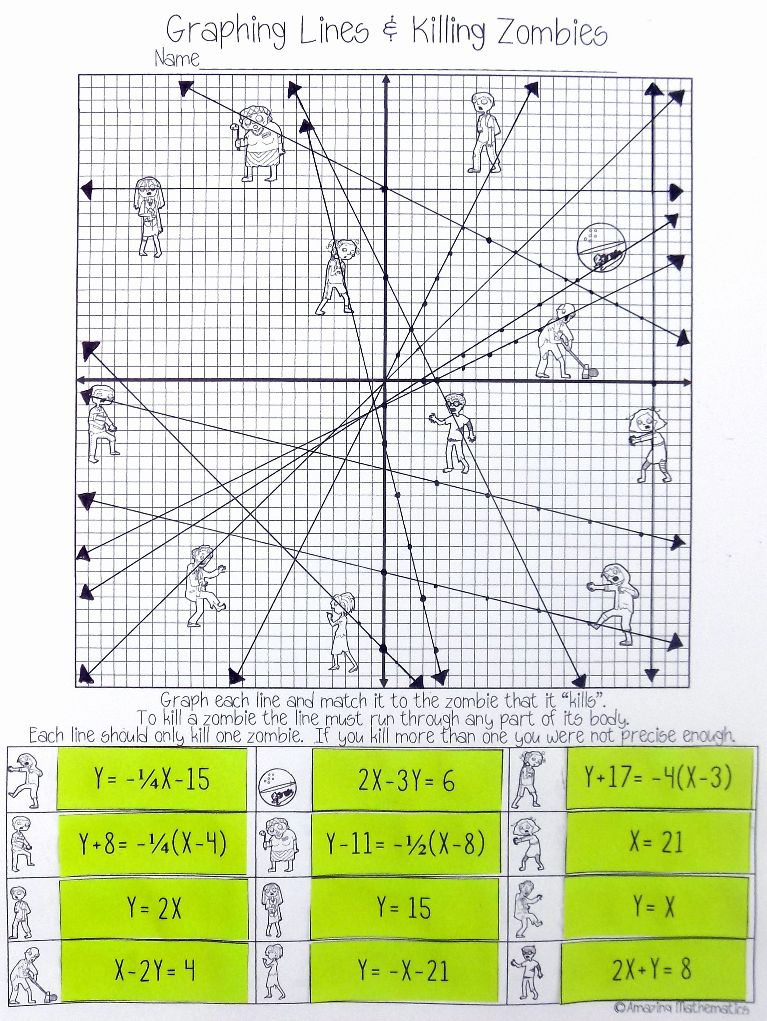 Graphing Linear Equations Practice Worksheet Lovely Graphing Lines & Zombies All 3 forms