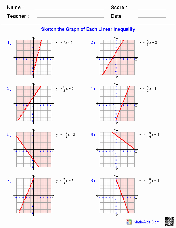Graphing Linear Equations Worksheet Answers Beautiful Graphing Inequalities Worksheets