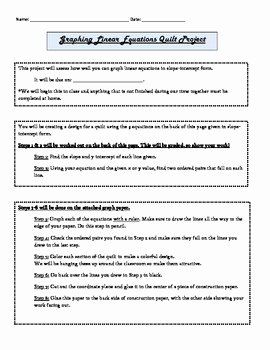 Graphing Linear Equations Worksheet Answers Fresh Graphing Linear Equations Quilt Project Worksheet Answers